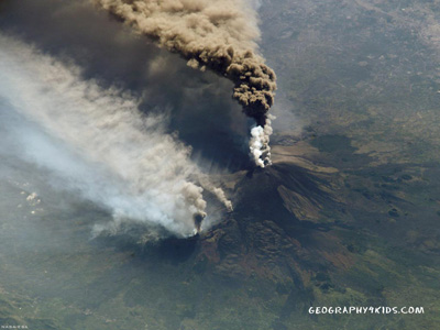 Aerial view from the NE of Mt Etna